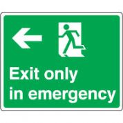 Safe Safety Sign - Exit Emergency Left 077